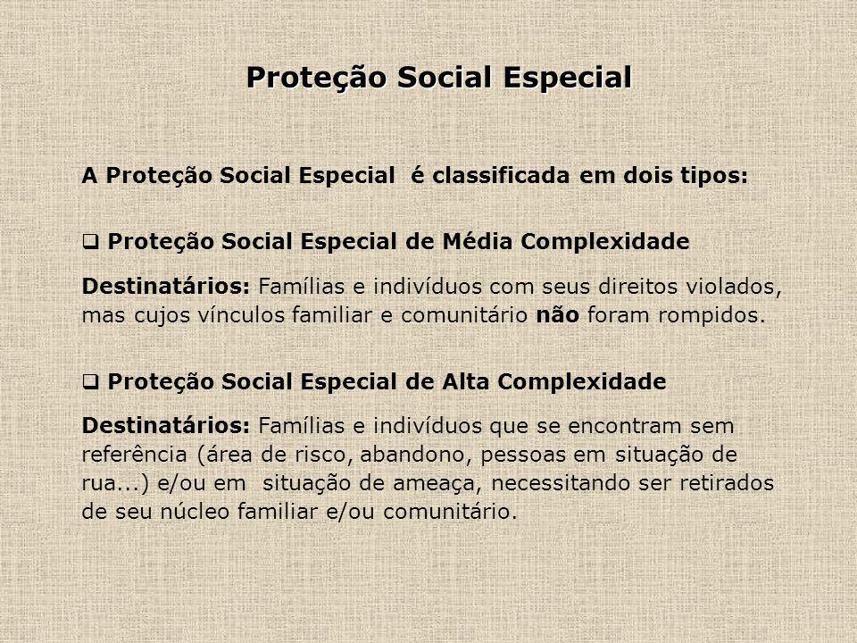 Proteção Social Especial A Proteção Social Especial é classificada em dois tipos: Proteção Social Especial de Média Complexidade Destinatários: Famíli