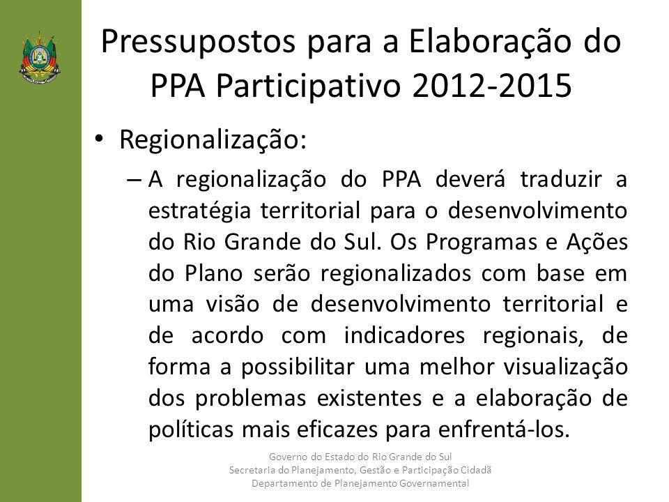 Pressupostos para a Elaboração do PPA Participativo 2012-2015 Regionalização: – A regionalização do PPA deverá traduzir a estratégia territorial para
