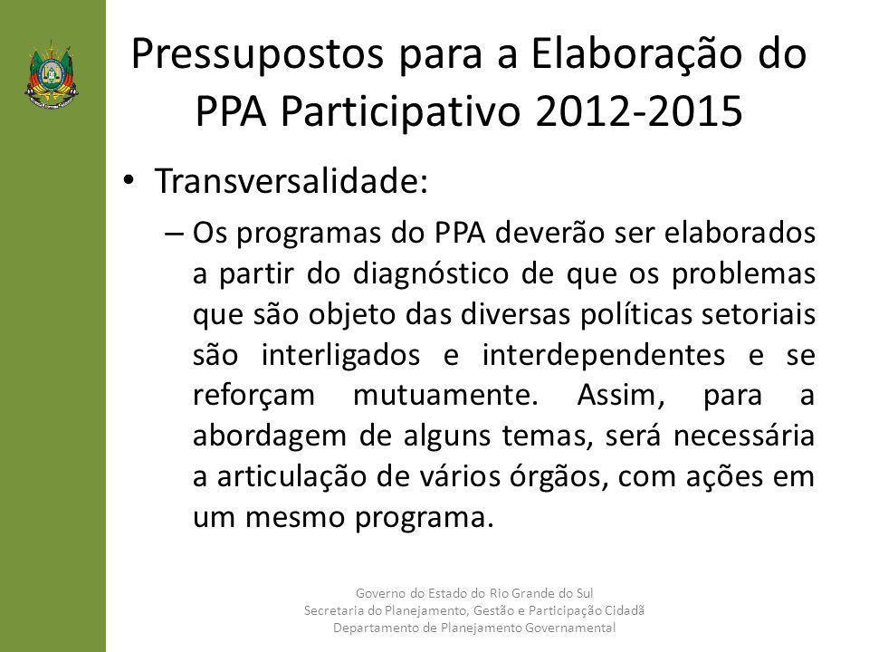 Pressupostos para a Elaboração do PPA Participativo 2012-2015 Transversalidade: – Os programas do PPA deverão ser elaborados a partir do diagnóstico d