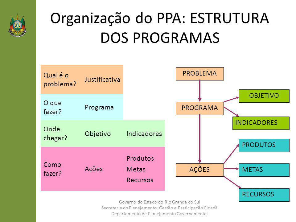 Organização do PPA: ESTRUTURA DOS PROGRAMAS Governo do Estado do Rio Grande do Sul Secretaria do Planejamento, Gestão e Participação Cidadã Departamen