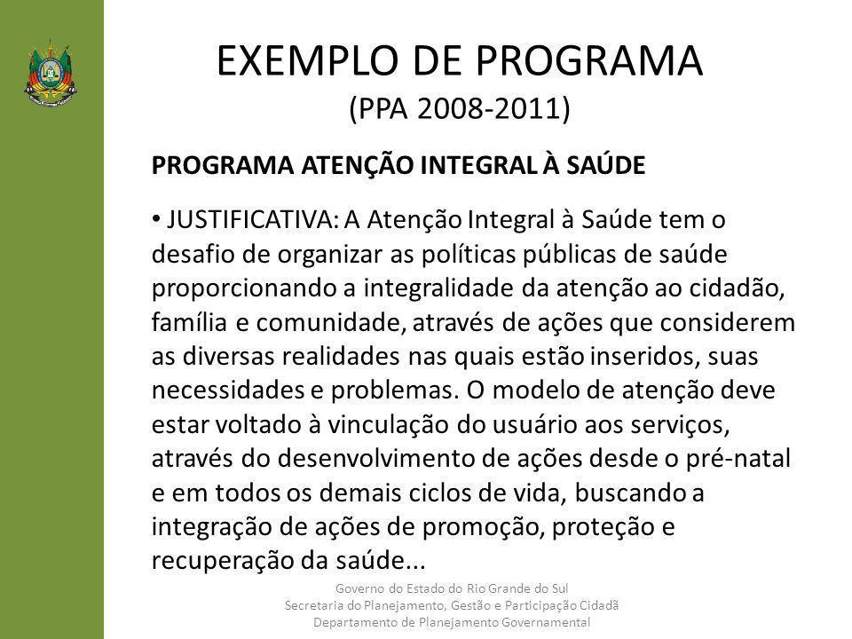 EXEMPLO DE PROGRAMA (PPA 2008-2011) PROGRAMA ATENÇÃO INTEGRAL À SAÚDE JUSTIFICATIVA: A Atenção Integral à Saúde tem o desafio de organizar as política