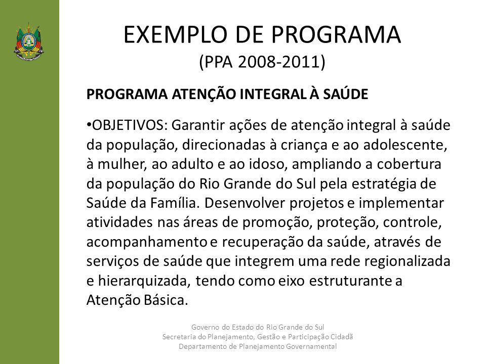 EXEMPLO DE PROGRAMA (PPA 2008-2011) PROGRAMA ATENÇÃO INTEGRAL À SAÚDE OBJETIVOS: Garantir ações de atenção integral à saúde da população, direcionadas
