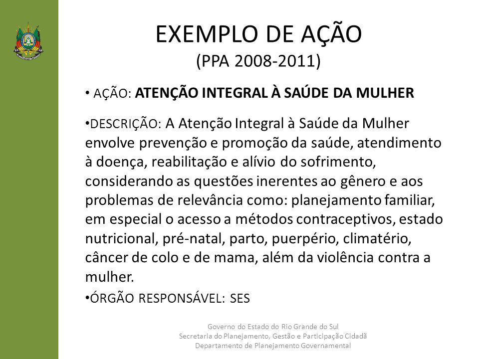 EXEMPLO DE AÇÃO (PPA 2008-2011) AÇÃO: ATENÇÃO INTEGRAL À SAÚDE DA MULHER DESCRIÇÃO: A Atenção Integral à Saúde da Mulher envolve prevenção e promoção
