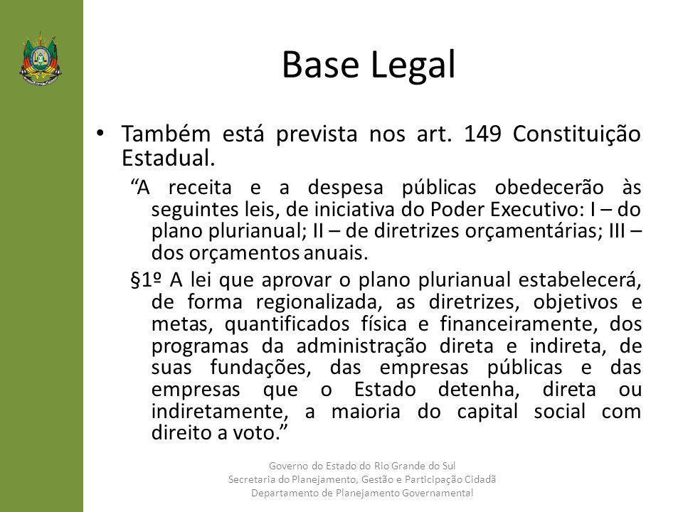 Base Legal Também está prevista nos art. 149 Constituição Estadual. A receita e a despesa públicas obedecerão às seguintes leis, de iniciativa do Pode