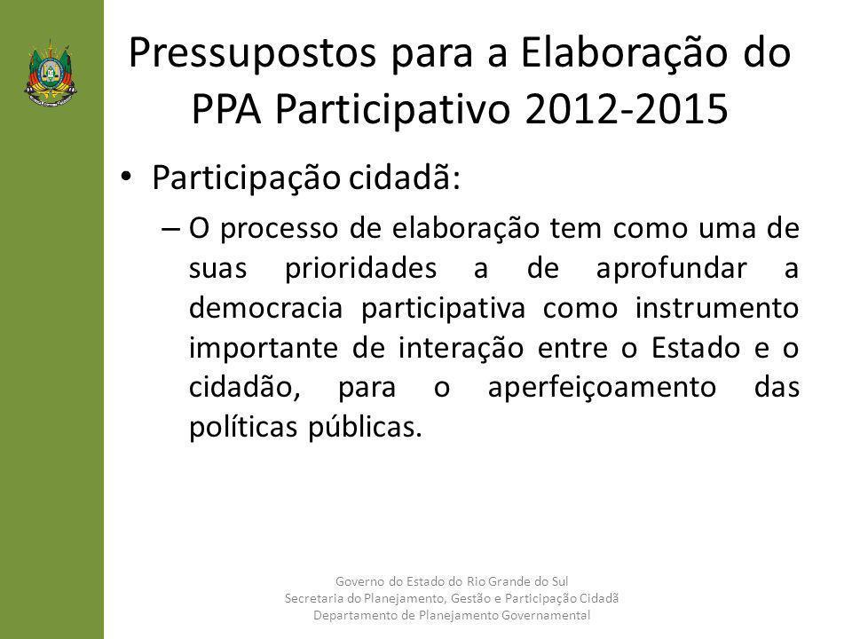 Pressupostos para a Elaboração do PPA Participativo 2012-2015 Participação cidadã: – O processo de elaboração tem como uma de suas prioridades a de ap