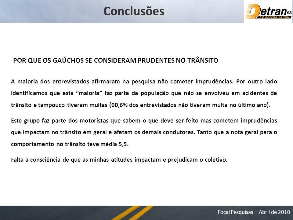 Focal Pesquisas – Abril de 2010 Conclusões A maioria dos entrevistados afirmaram na pesquisa não cometer imprudências.