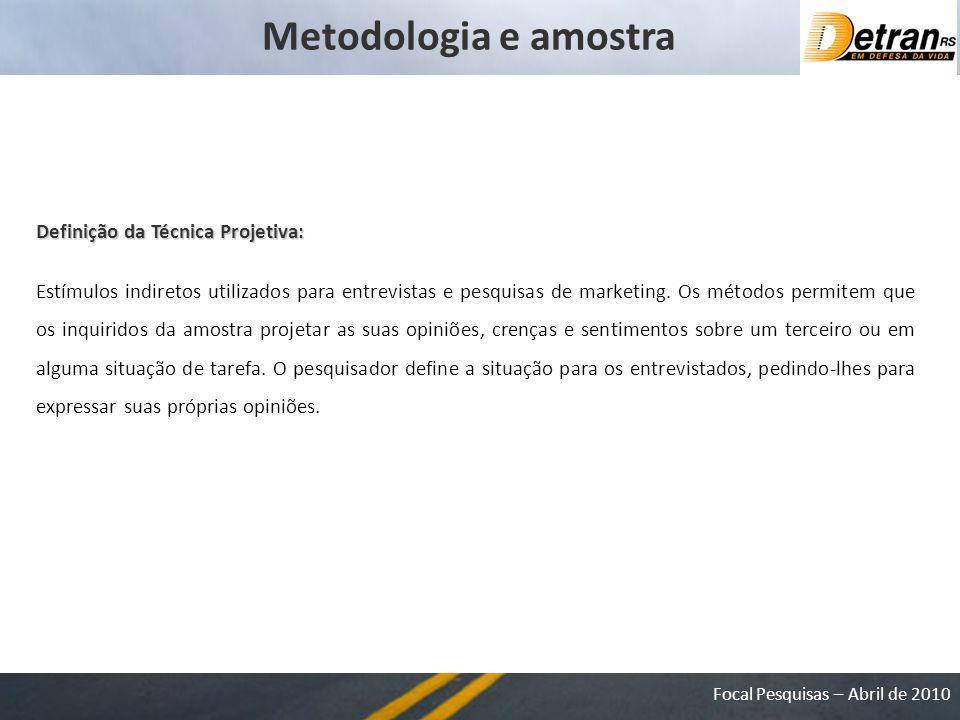 Focal Pesquisas – Abril de 2010 Metodologia e amostra Definição da Técnica Projetiva: Estímulos indiretos utilizados para entrevistas e pesquisas de marketing.