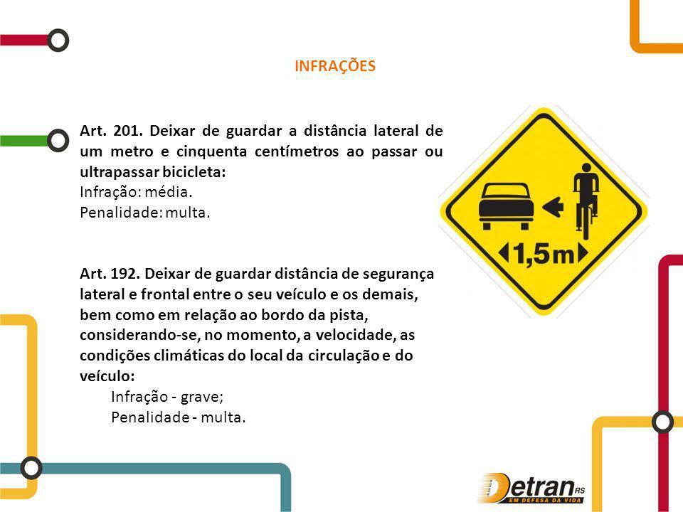 Art. 201. Deixar de guardar a distância lateral de um metro e cinquenta centímetros ao passar ou ultrapassar bicicleta: Infração: média. Penalidade: m