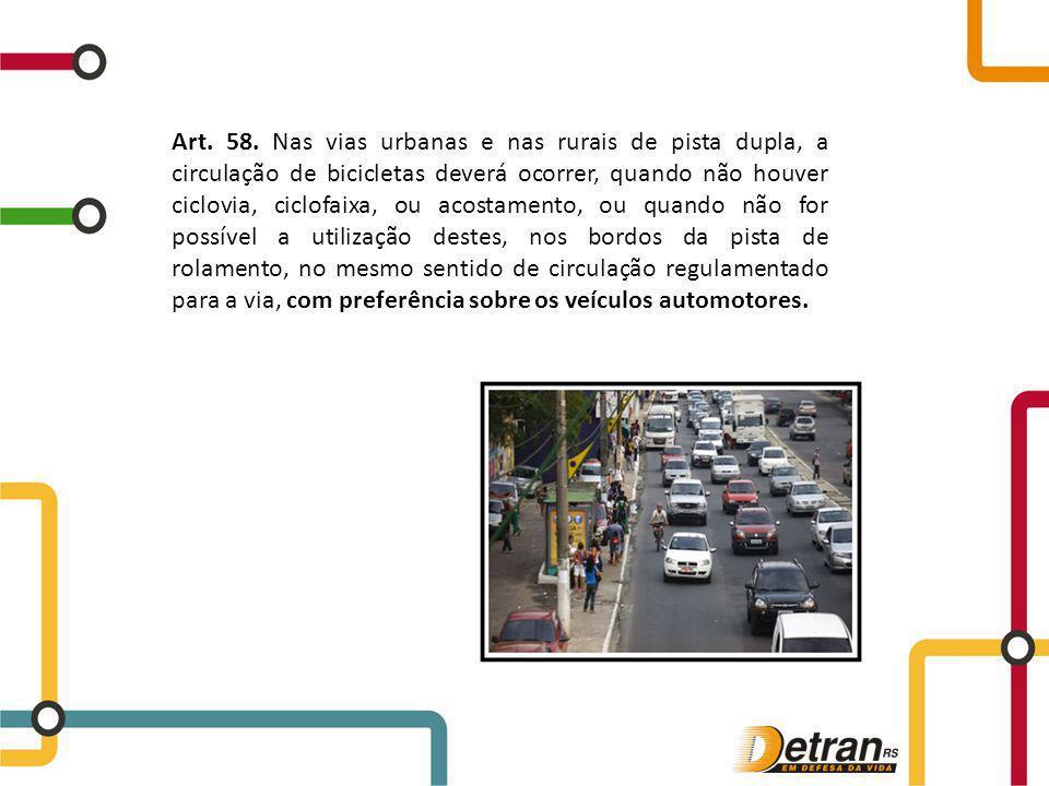Art. 58. Nas vias urbanas e nas rurais de pista dupla, a circulação de bicicletas deverá ocorrer, quando não houver ciclovia, ciclofaixa, ou acostamen