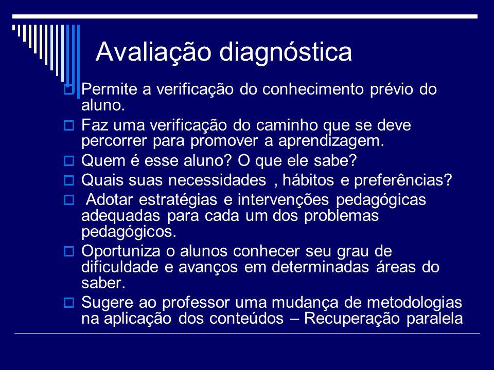 Avaliação diagnóstica Permite a verificação do conhecimento prévio do aluno. Faz uma verificação do caminho que se deve percorrer para promover a apre