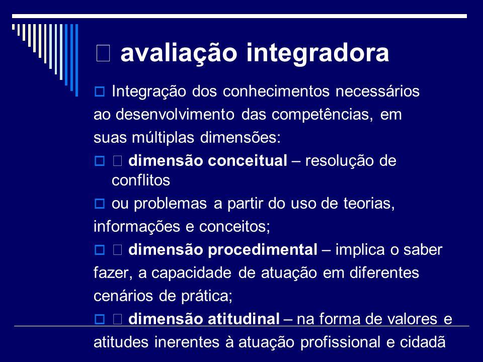 avaliação integradora Integração dos conhecimentos necessários ao desenvolvimento das competências, em suas múltiplas dimensões: dimensão conceitual –