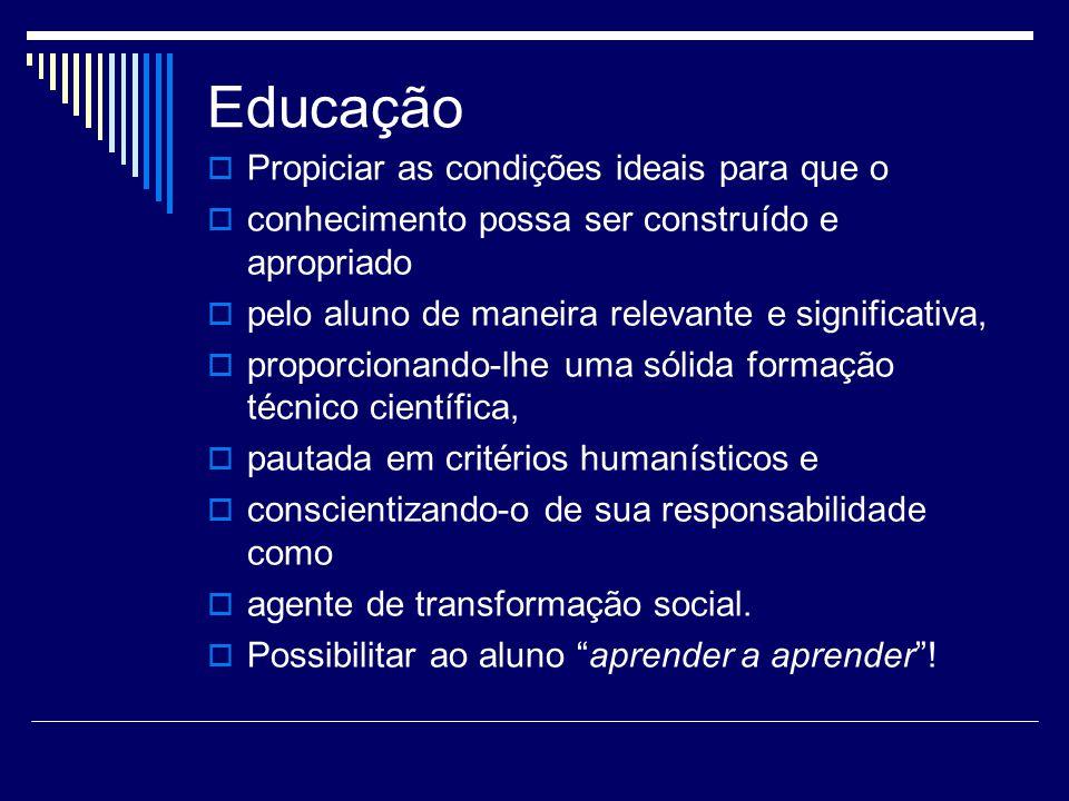 Educação Propiciar as condições ideais para que o conhecimento possa ser construído e apropriado pelo aluno de maneira relevante e significativa, prop
