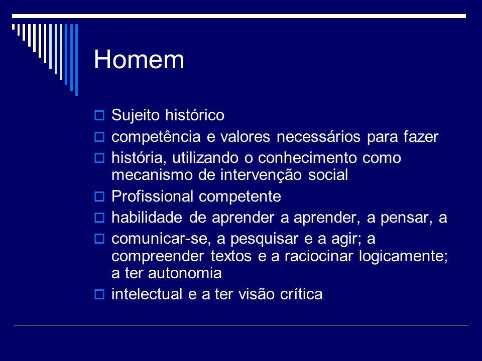 Homem Sujeito histórico competência e valores necessários para fazer história, utilizando o conhecimento como mecanismo de intervenção social Profissi