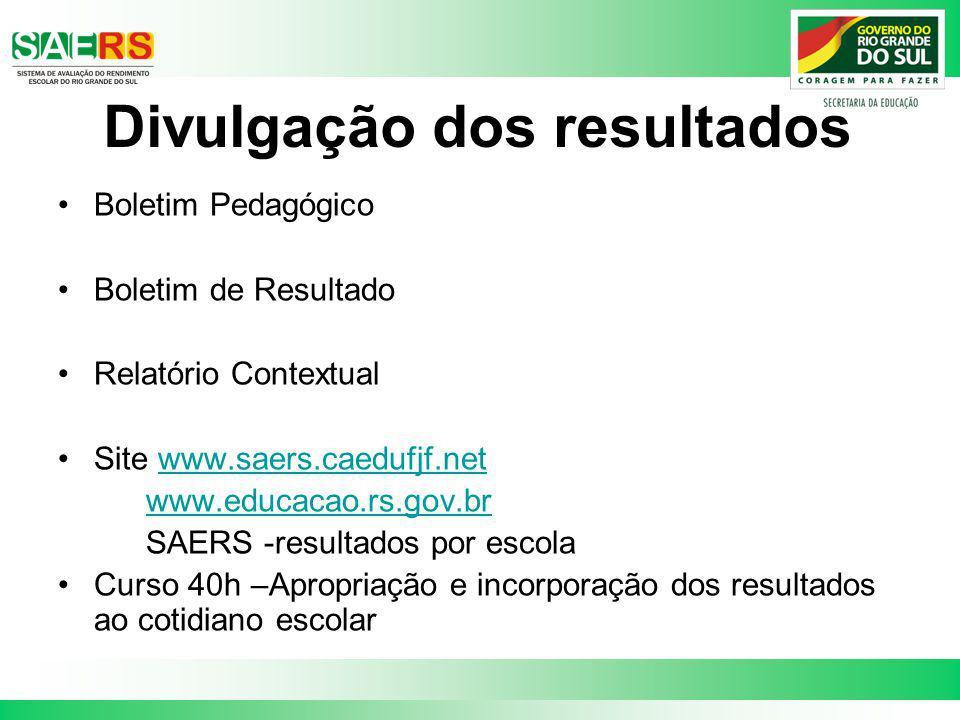 Divulgação dos resultados Boletim Pedagógico Boletim de Resultado Relatório Contextual Site www.saers.caedufjf.netwww.saers.caedufjf.net www.educacao.