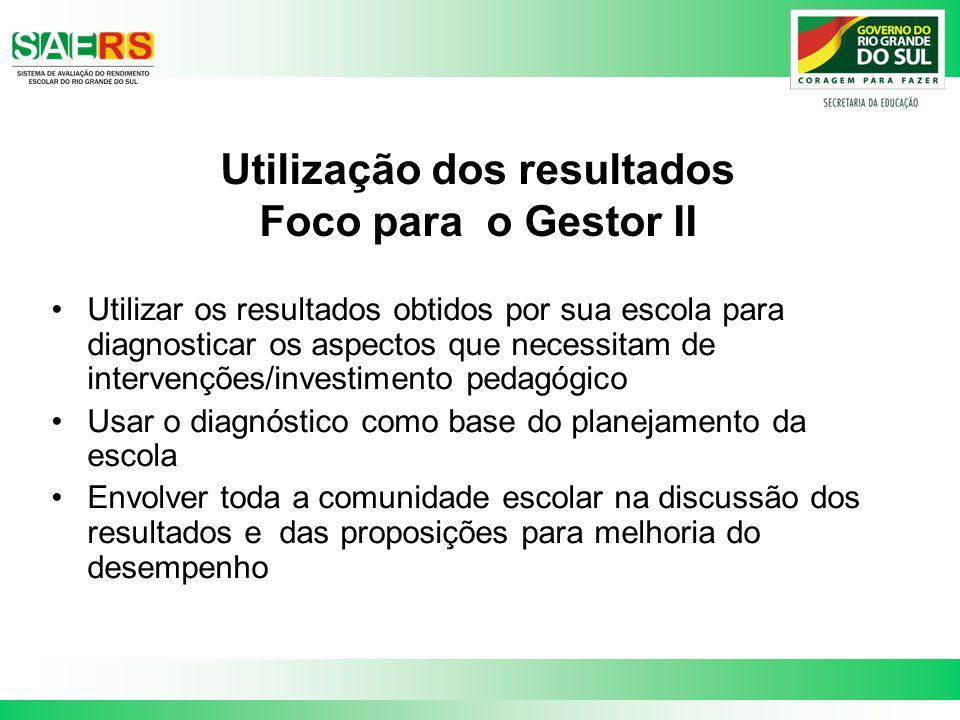 Utilização dos resultados Foco para o Gestor II Utilizar os resultados obtidos por sua escola para diagnosticar os aspectos que necessitam de interven