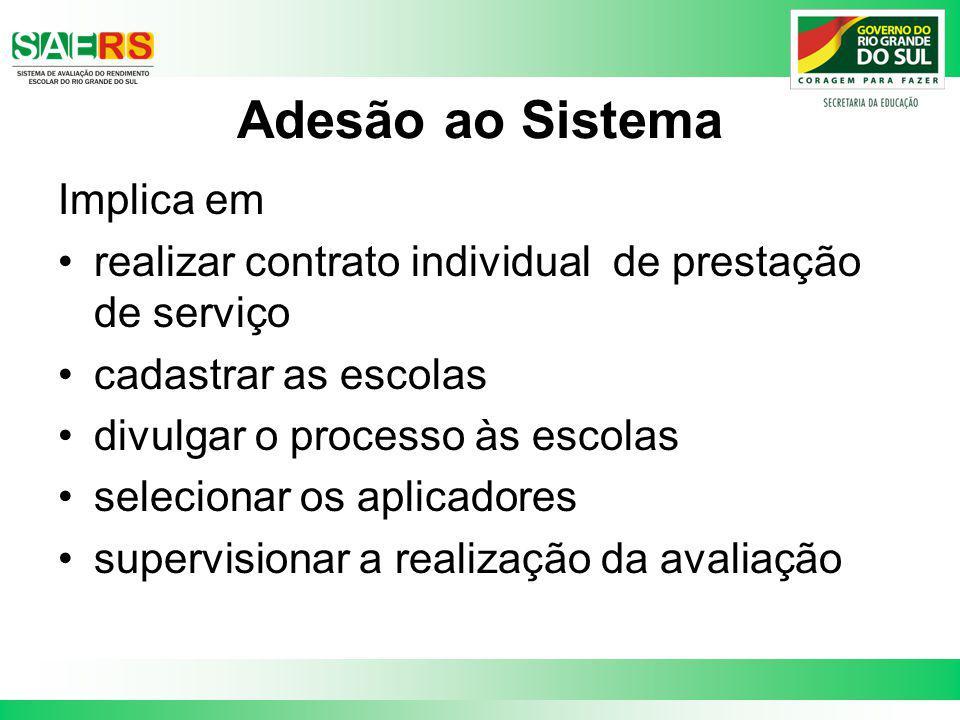 Adesão ao Sistema Implica em realizar contrato individual de prestação de serviço cadastrar as escolas divulgar o processo às escolas selecionar os ap