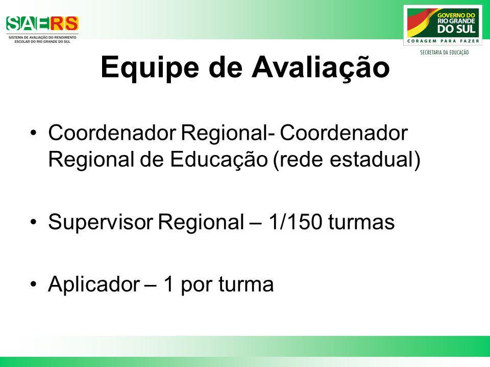 Equipe de Avaliação Coordenador Regional- Coordenador Regional de Educação (rede estadual) Supervisor Regional – 1/150 turmas Aplicador – 1 por turma