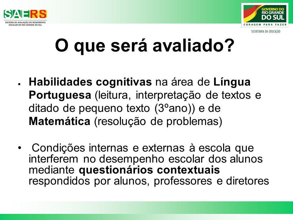 O que será avaliado? Habilidades cognitivas na área de Língua Portuguesa (leitura, interpretação de textos e ditado de pequeno texto (3ºano)) e de Mat