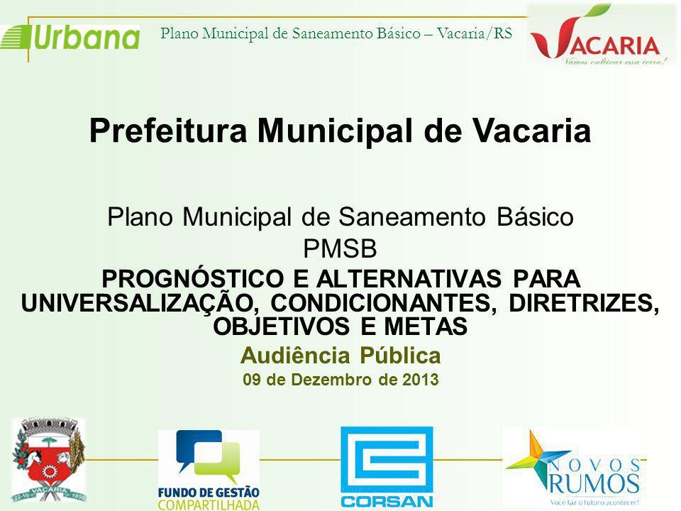 Plano Municipal de Saneamento Básico – Vacaria/RS Estimativas de receitas com serviço de esgotamento sanitário até 2033