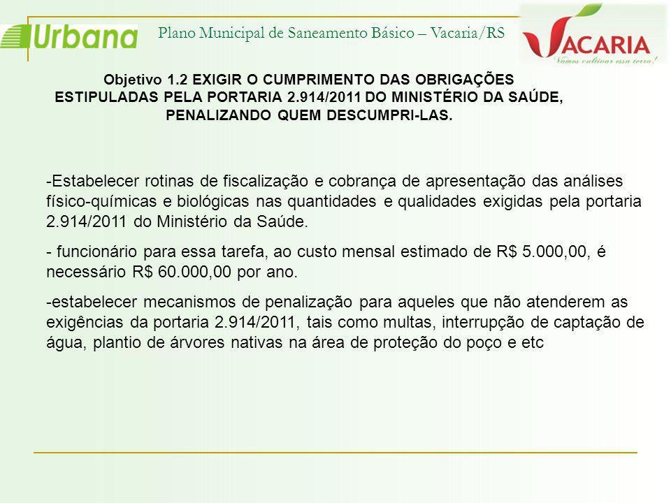 Plano Municipal de Saneamento Básico – Vacaria/RS Objetivo 1.2 EXIGIR O CUMPRIMENTO DAS OBRIGAÇÕES ESTIPULADAS PELA PORTARIA 2.914/2011 DO MINISTÉRIO