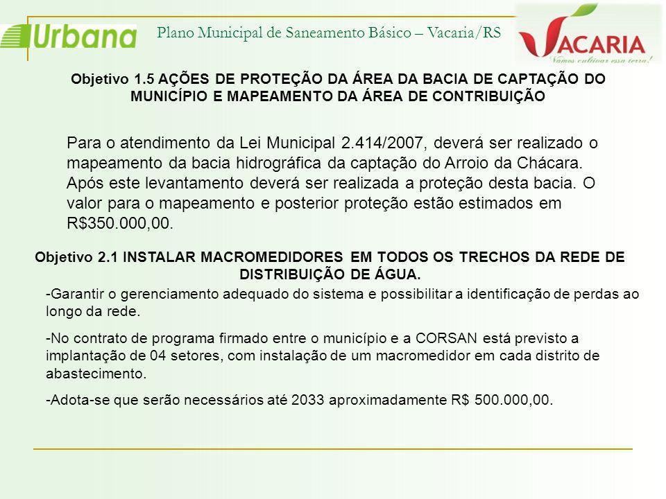 Plano Municipal de Saneamento Básico – Vacaria/RS Objetivo 1.5 AÇÕES DE PROTEÇÃO DA ÁREA DA BACIA DE CAPTAÇÃO DO MUNICÍPIO E MAPEAMENTO DA ÁREA DE CON