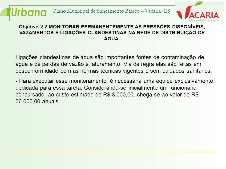 Plano Municipal de Saneamento Básico – Vacaria/RS Objetivo 2.2 MONITORAR PERMANENTEMENTE AS PRESSÕES DISPONÍVEIS, VAZAMENTOS E LIGAÇÕES CLANDESTINAS N