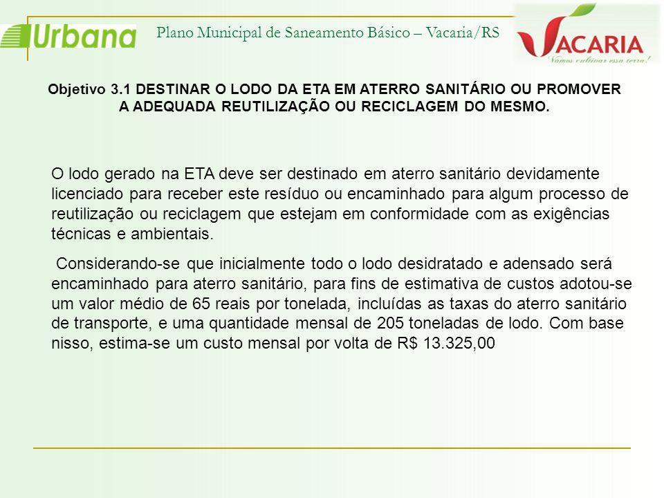 Plano Municipal de Saneamento Básico – Vacaria/RS Objetivo 3.1 DESTINAR O LODO DA ETA EM ATERRO SANITÁRIO OU PROMOVER A ADEQUADA REUTILIZAÇÃO OU RECIC
