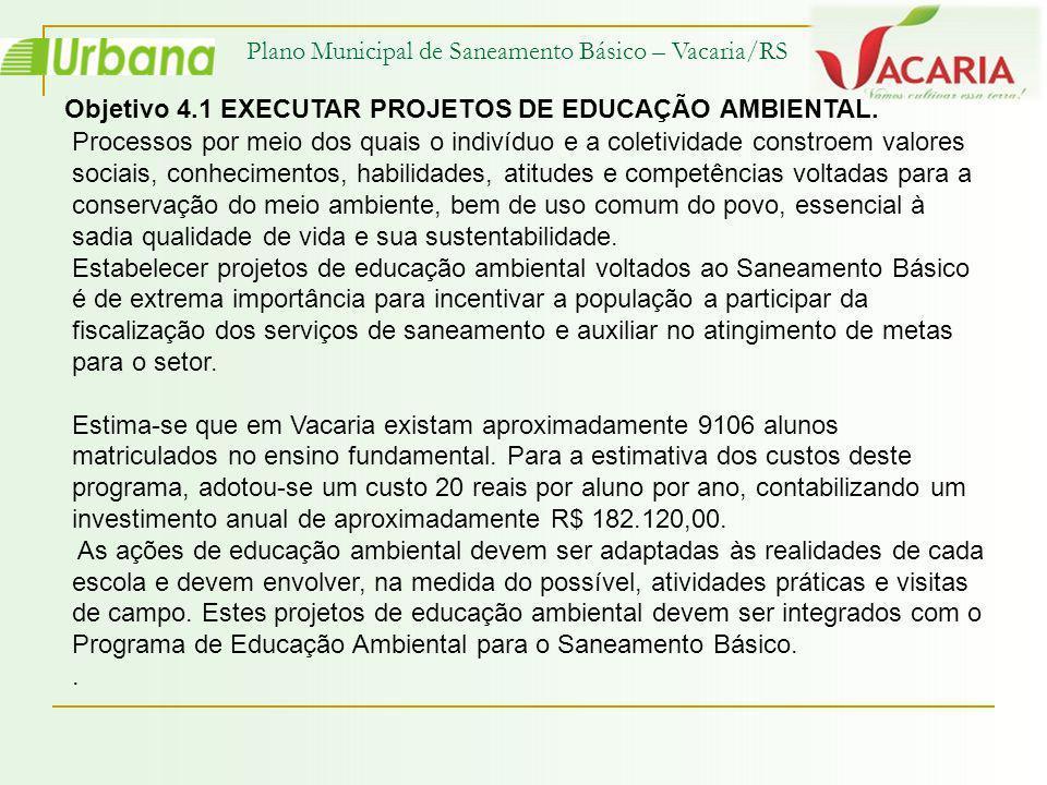 Plano Municipal de Saneamento Básico – Vacaria/RS Objetivo 4.1 EXECUTAR PROJETOS DE EDUCAÇÃO AMBIENTAL. Processos por meio dos quais o indivíduo e a c
