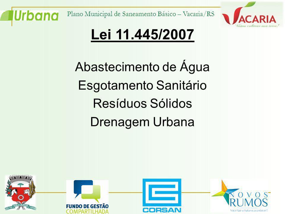 Abastecimento de Água Esgotamento Sanitário Resíduos Sólidos Drenagem Urbana Lei 11.445/2007 Plano Municipal de Saneamento Básico – Vacaria/RS