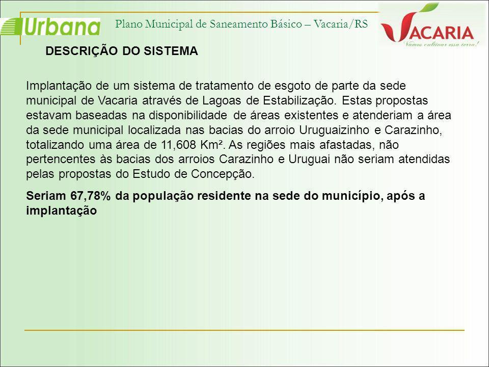 Plano Municipal de Saneamento Básico – Vacaria/RS DESCRIÇÃO DO SISTEMA Implantação de um sistema de tratamento de esgoto de parte da sede municipal de