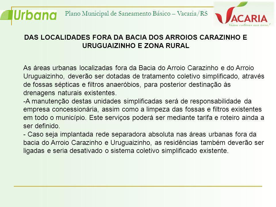 Plano Municipal de Saneamento Básico – Vacaria/RS DAS LOCALIDADES FORA DA BACIA DOS ARROIOS CARAZINHO E URUGUAIZINHO E ZONA RURAL As áreas urbanas loc