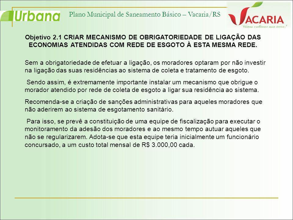 Plano Municipal de Saneamento Básico – Vacaria/RS Objetivo 2.1 CRIAR MECANISMO DE OBRIGATORIEDADE DE LIGAÇÃO DAS ECONOMIAS ATENDIDAS COM REDE DE ESGOT