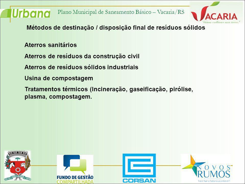 Plano Municipal de Saneamento Básico – Vacaria/RS Métodos de destinação / disposição final de resíduos sólidos Aterros sanitários Aterros de resíduos