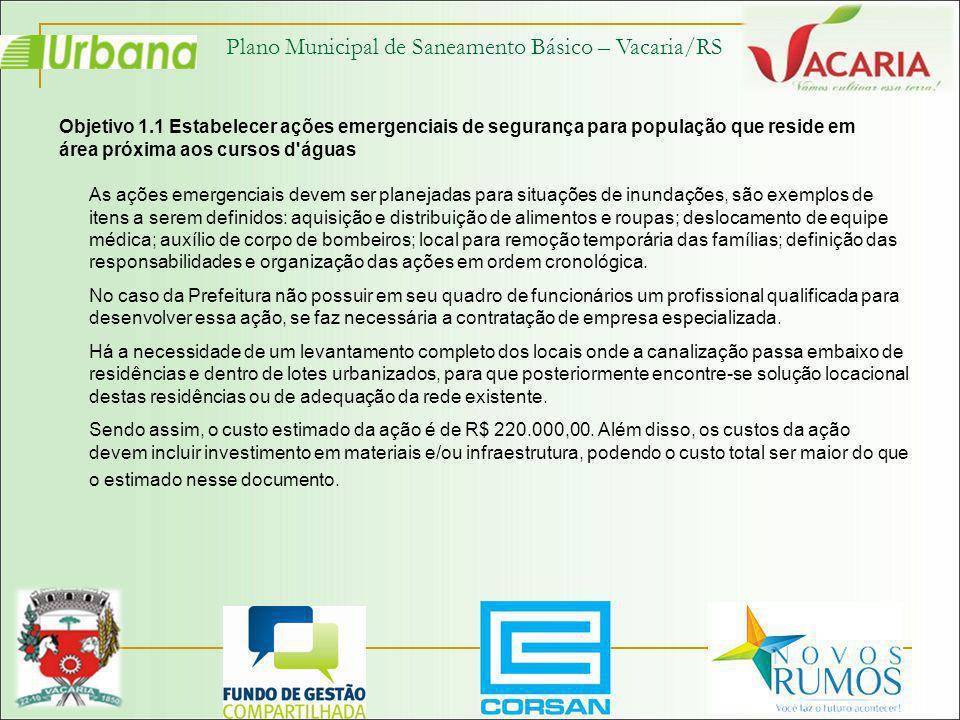 Plano Municipal de Saneamento Básico – Vacaria/RS Objetivo 1.1 Estabelecer ações emergenciais de segurança para população que reside em área próxima a