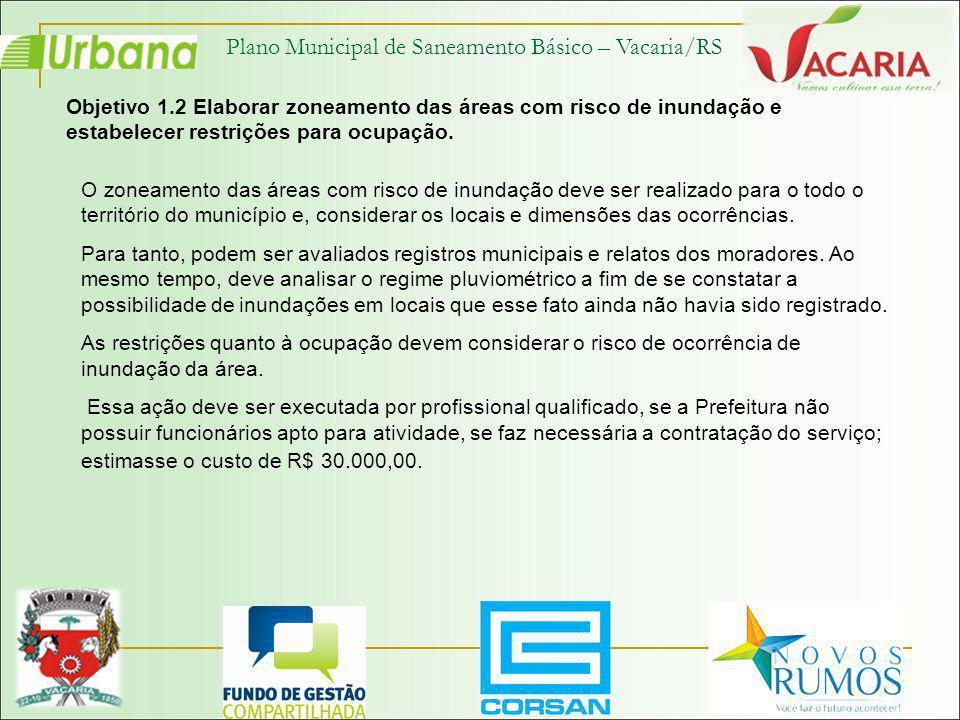 Plano Municipal de Saneamento Básico – Vacaria/RS Objetivo 1.2 Elaborar zoneamento das áreas com risco de inundação e estabelecer restrições para ocup