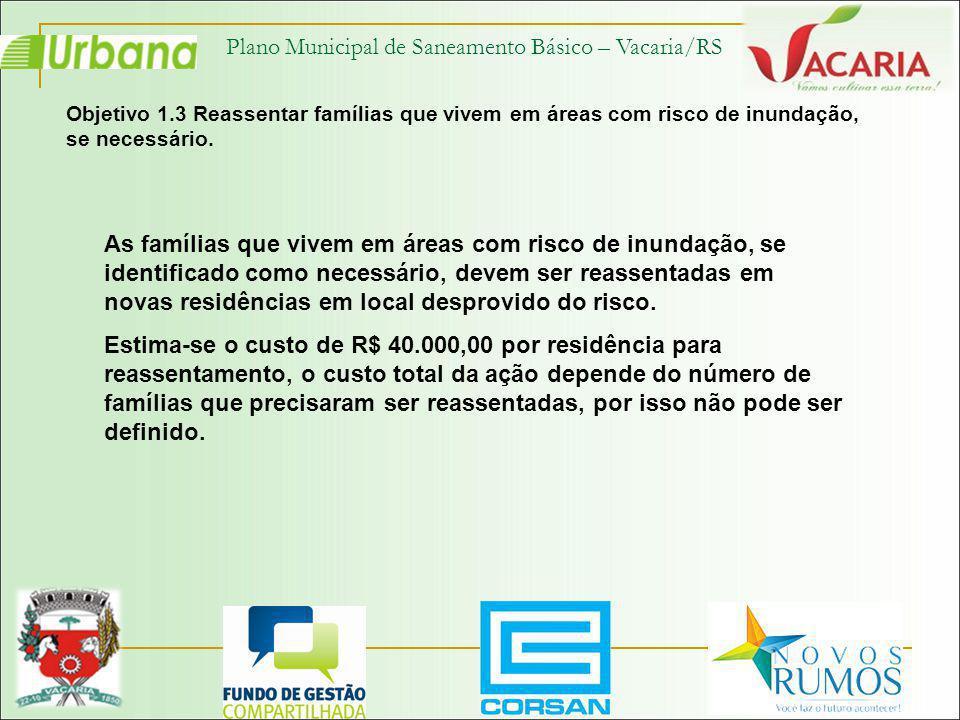 Plano Municipal de Saneamento Básico – Vacaria/RS Objetivo 1.3 Reassentar famílias que vivem em áreas com risco de inundação, se necessário. As famíli