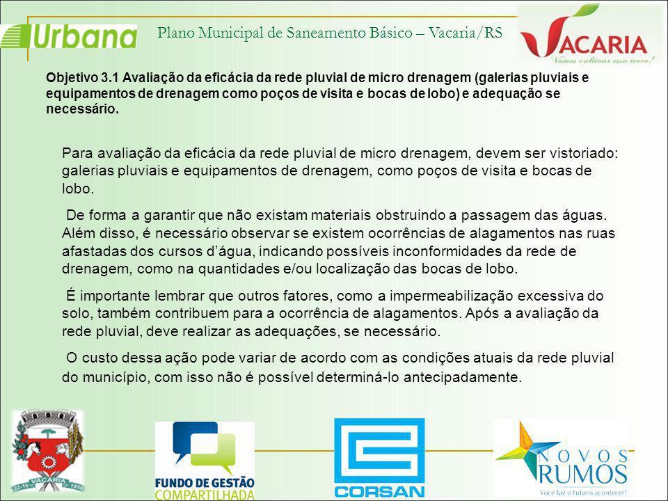 Plano Municipal de Saneamento Básico – Vacaria/RS Objetivo 3.1 Avaliação da eficácia da rede pluvial de micro drenagem (galerias pluviais e equipament
