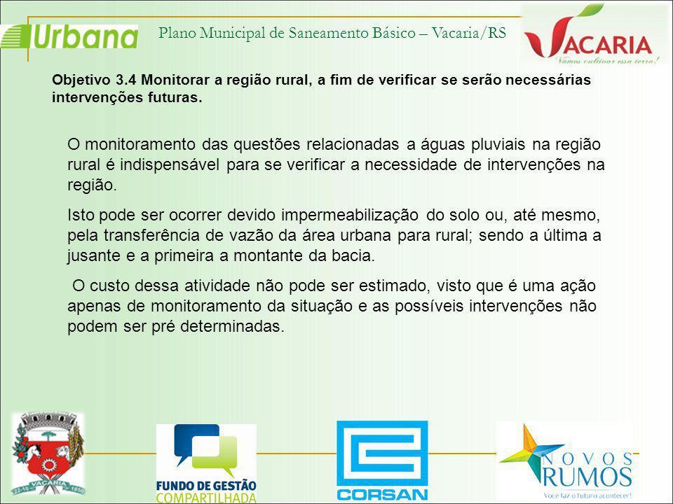 Plano Municipal de Saneamento Básico – Vacaria/RS Objetivo 3.4 Monitorar a região rural, a fim de verificar se serão necessárias intervenções futuras.
