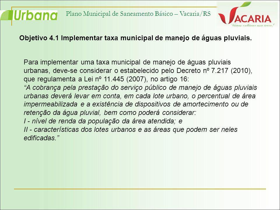 Plano Municipal de Saneamento Básico – Vacaria/RS Objetivo 4.1 Implementar taxa municipal de manejo de águas pluviais. Para implementar uma taxa munic