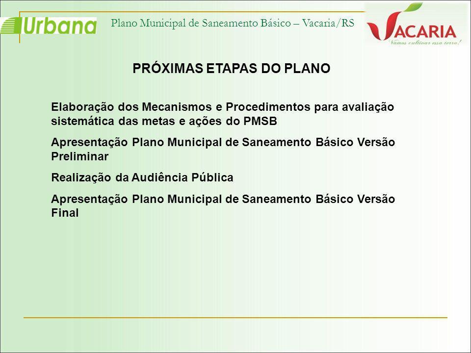 Plano Municipal de Saneamento Básico – Vacaria/RS PRÓXIMAS ETAPAS DO PLANO Elaboração dos Mecanismos e Procedimentos para avaliação sistemática das me