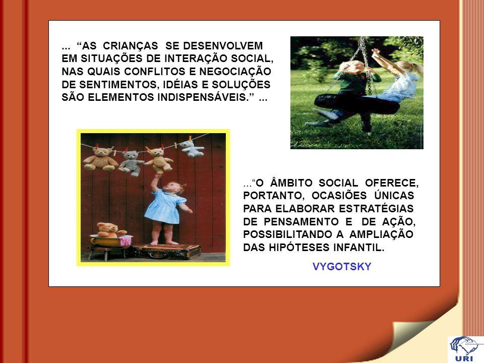 ...O ÂMBITO SOCIAL OFERECE, PORTANTO, OCASIÕES ÚNICAS PARA ELABORAR ESTRATÉGIAS DE PENSAMENTO E DE AÇÃO, POSSIBILITANDO A AMPLIAÇÃO DAS HIPÓTESES INFANTIL.