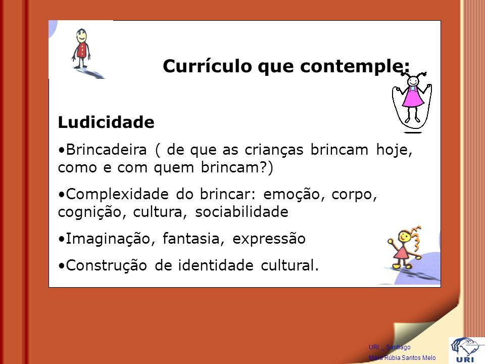 Ludicidade Brincadeira ( de que as crianças brincam hoje, como e com quem brincam?) Complexidade do brincar: emoção, corpo, cognição, cultura, sociabilidade Imaginação, fantasia, expressão Construção de identidade cultural.