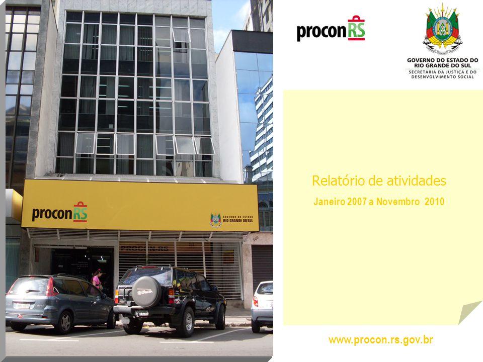 Desde o início das atividades do Procon no RS, em 1996, até janeiro de 2007, existiam 52 cidades com Órgãos de Proteção e Defesa do Consumidor.