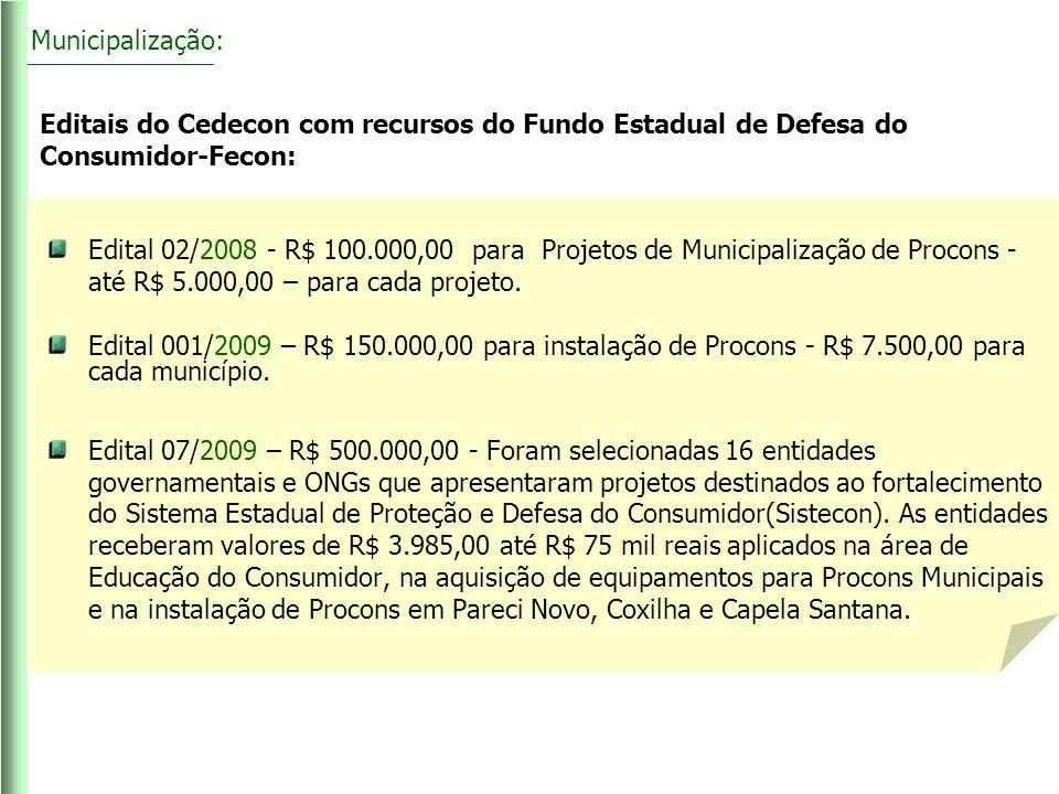 Editais do Cedecon com recursos do Fundo Estadual de Defesa do Consumidor-Fecon: Edital 02/2008 - R$ 100.000,00 para Projetos de Municipalização de Pr
