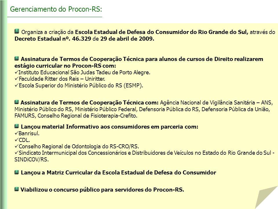 Organiza a criação da Escola Estadual de Defesa do Consumidor do Rio Grande do Sul, através do Decreto Estadual nº. 46.329 de 29 de abril de 2009. Ass