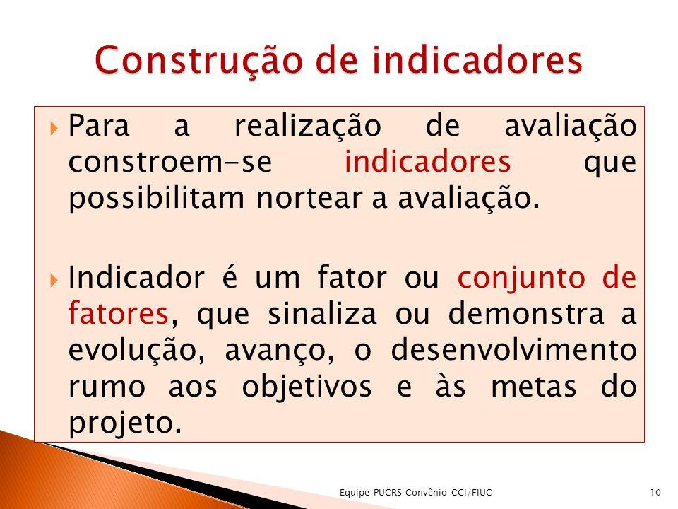 Para a realização de avaliação constroem-se indicadores que possibilitam nortear a avaliação. Indicador é um fator ou conjunto de fatores, que sinaliz