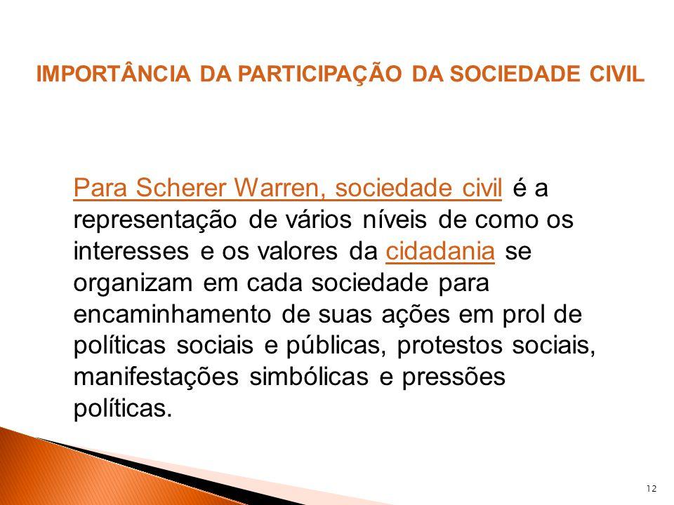 12 Para Scherer Warren, sociedade civilPara Scherer Warren, sociedade civil é a representação de vários níveis de como os interesses e os valores da c