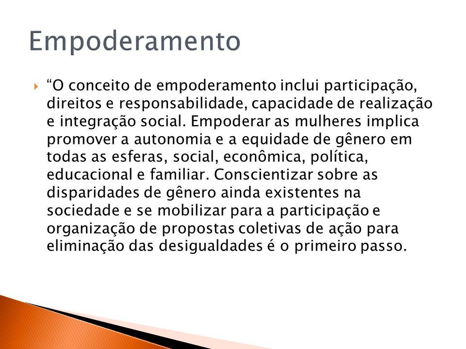 O conceito de empoderamento inclui participação, direitos e responsabilidade, capacidade de realização e integração social. Empoderar as mulheres impl