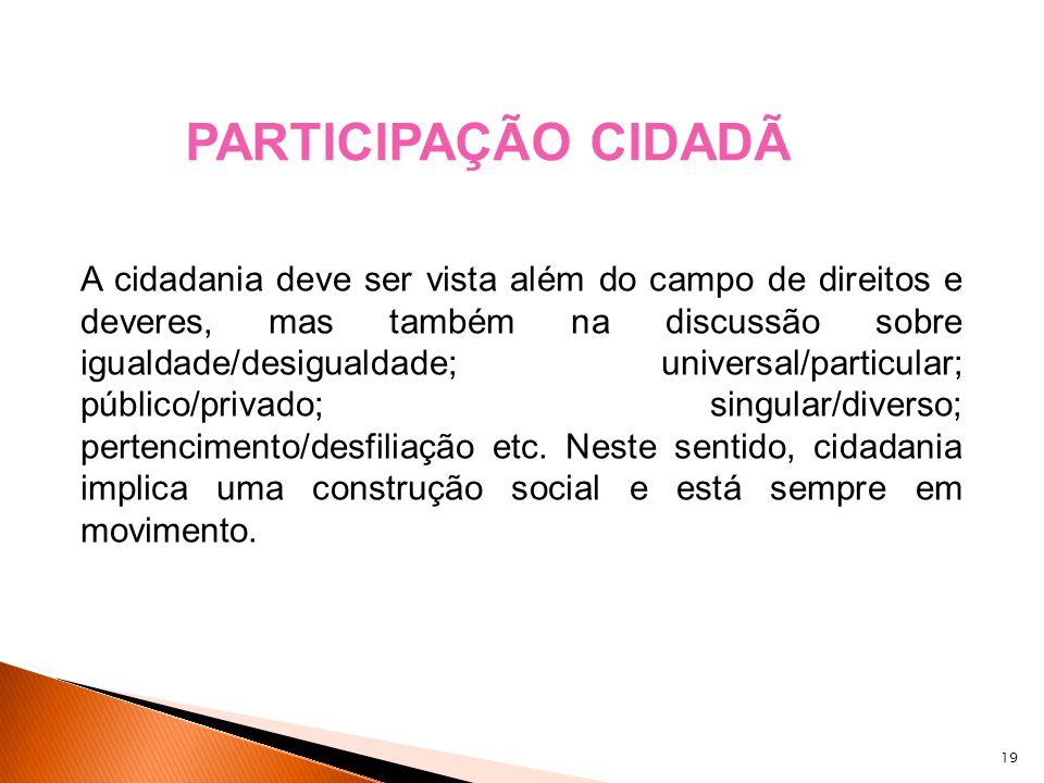 19 A cidadania deve ser vista além do campo de direitos e deveres, mas também na discussão sobre igualdade/desigualdade; universal/particular; público