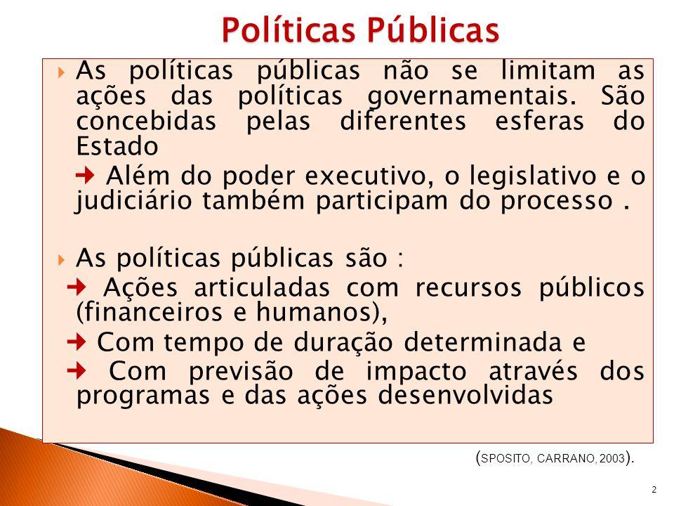 2 Políticas Públicas Políticas Públicas As políticas públicas não se limitam as ações das políticas governamentais. São concebidas pelas diferentes es